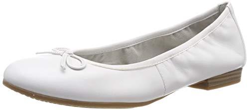Tamaris Damen 1-1-22116-22 100 Geschlossene BallerinasWeiß (White 100), 39 EU