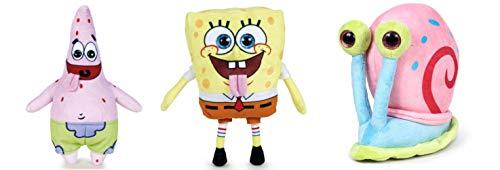 Play by Play Pack 3 Peluche Spongebob Squarepants: Spongebob (22 cm) + Patrick Stella (24 cm) + Lumaca di Mare Gary (15 cm)