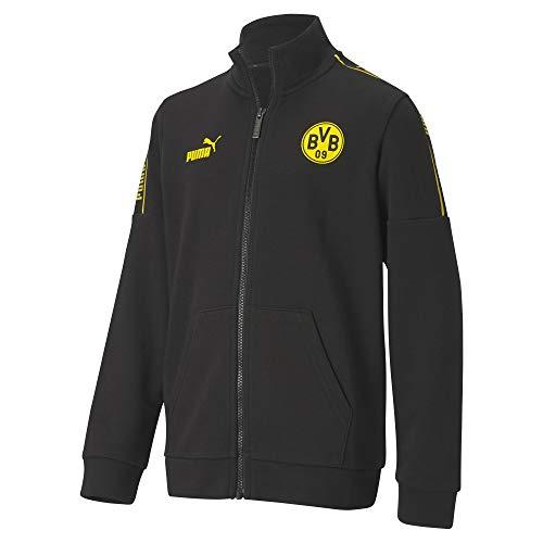 PUMA Uni Trainingsjacke BVB ftblCulture Track JKT Jr, Puma Black-Cyber Yellow, 140, 758116