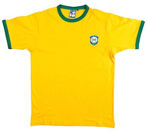 Old School Football Brasilien Nationalmannschaft 1950-1970er Jahre Fußball T-Shirt Gr. S-XXL L gelb/grün