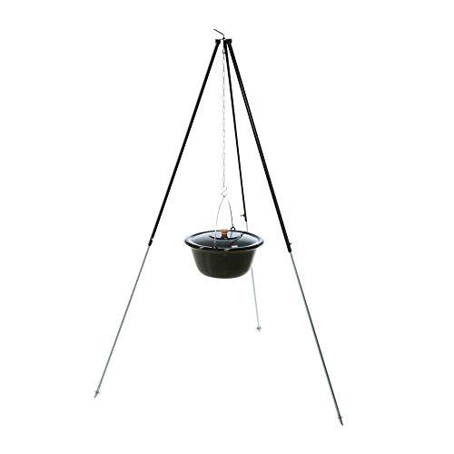 acerto 31787 Original ungarischer Gulaschkessel (6 Liter) + Dreibein-Gestell (180cm) * Emailliert * Kratzfest * Geschmacksneutral | Teleskop-Dreifuß mit Gulasch-Topf, Suppentopf, Glühweintopf