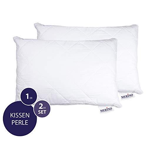 MERINO BETTEN Hochwertiges Schlafkissen 50x90 Set | Kopfkissen | Kissenhülle versteppt mit Reißverschluss | Serie Perle