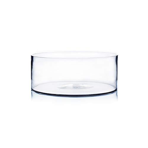 """WGV Cylinder Vase, Open Width 10"""", Height 4"""", Clear Flat Pan Style Container, Planter Terrarium, Floral Centerpiece for Wedding Party Event, Home Office Decor, 1 Piece"""