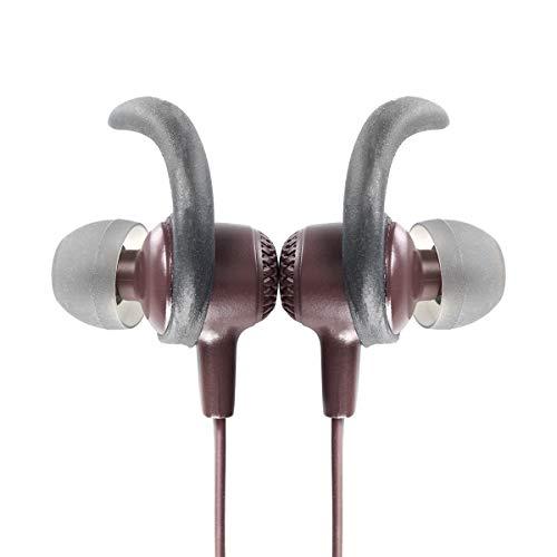 Vieta Pro Libero - Auriculares inalámbricos (Bluetooth, radio FM, micrófono integrado, soporte magnético y estabilidad para hacer deporte, autonomía 10 horas) grana
