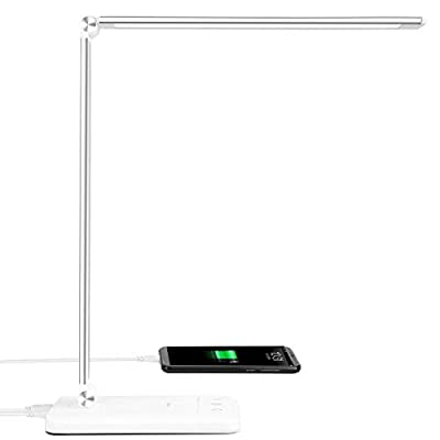 LED Desk Lamp - Office Desk Lamps with USB Charging Port and 2000mah Battery, Dimmable Eye-Caring Table Lamp with 5 Color Modes and 5 Brightness Levels, Timer/Memory Function Lamp for Working, Reading