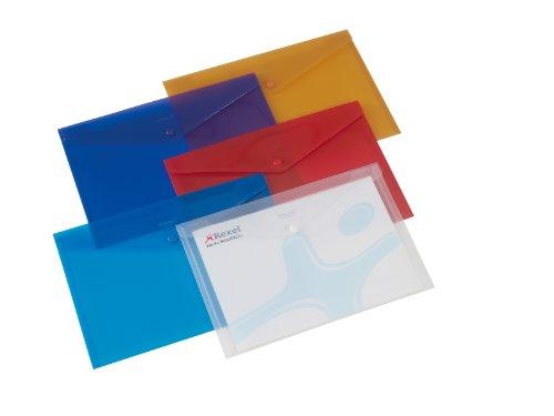 Rexel Busta Portadocumenti in Plastica A4, Chiusura con Bottone, Colori Assortiti, 6 Unità