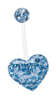 Pregnancy ring Swarovski Crystal Ferido Sparkling Lt Blue gems Heart Paved Bioflex all plastic adjustable flexible great for Pregnant PTFE Belly Navel piercing bar Ring 14g
