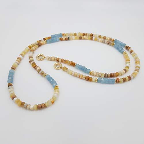 Design Edelsteinkette - inspiriert von Wassily Kandinsky - blau Aquamarin beige gelber Opal