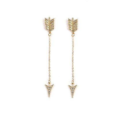 iKulilky - Pendientes Largos con diseño de Flecha y Borla para Mujer, Dorado, Talla única