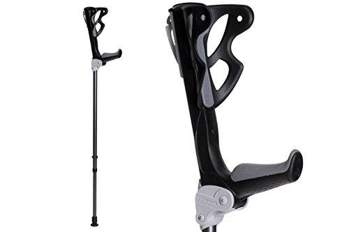 Ergodynamic Forearm Crutches by FDI (Size: 4'7-6'8) 1 Pair/2 Crutches/Black/Lightest Crutch with an Integrated Shock Absorber (M (132-198lbs) Spring Rate)