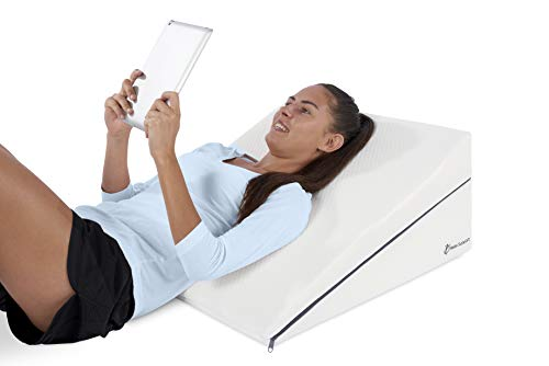 Wedge Pillow RS8 Relax Support Whole 100% Memory Foam - Adjustable Back Support for Reading Sleeping Sitting Anti Snoring Acid Reflux – Triangle Pillow w/Strategic Elevation 3-in-1 Technology