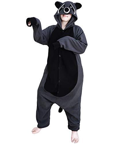 Funnyparty Animal Raccoon Pajamas Costume Unisex Adult Cosplay Jumpsuit Grey