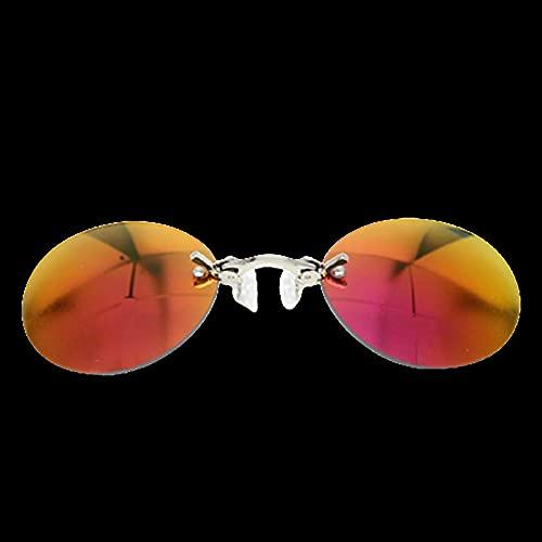 YCHH Moda Clip en Nariz Gafas de Sol Hombres Vintage Mini Redondo Gafas de Sol Hacker Empire Matrix Gafas de Sol Rimless (Color : 2)