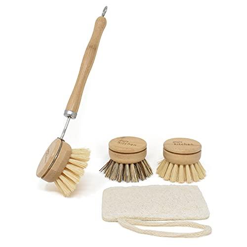 Lot Brosse Vaisselle Bois de Bambou écologique - Set Brosse Nettoyage à têtes interchangeables - Ensemble de brosses de Nettoyage polyvalentes pour Nettoyer en Douceur Tout Type de Vaisselle