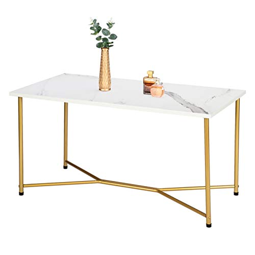 YISHENG-P Single Layer 1.5cm Thick Density Board Imitation Marble Square Table Top Gold Foot Iron Coffee Table White P