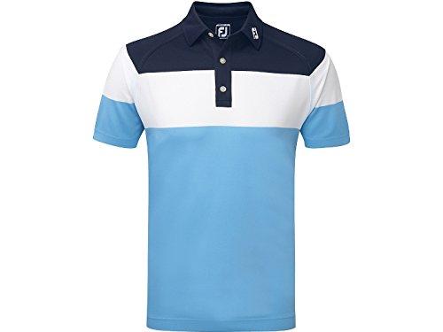 Footjoy Raglan Chest Stripe Pique Shirt Polo, Hombre, Azul (Azul Oscuro/Blanco/Azul), Medium (Tamaño del Fabricante:M)