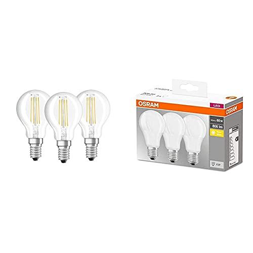 Osram 4058075819733 Lampada Led, Vetro, 3 Lamp, Luce Neutra & Led Base Classic A Lampadina E27, 8.5W, 60 W, Luce Bianco Caldo, Confezione Con 3 Pezzi