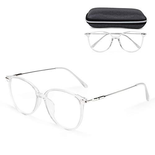 Venga amigos Computerbrille Blaulichtfilter Brille Ohne Stärke Anti-Müdigkeit Anti-Blaulicht UV-Schutz Retro Metallgestell Brillenfassung mit Brillenetuis und Brillenputztuch