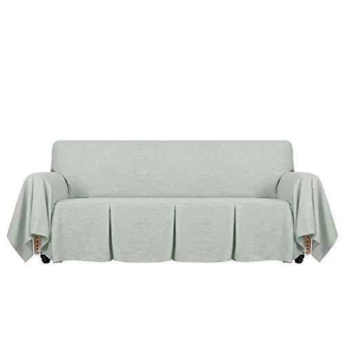 MAXIJIN Fundas de sofá de 1 Pieza Tipo Lino, Fundas de sofá de 3 plazas, Fundas de sofá Ajustadas con Volantes, Fundas de sofá para Sala de Estar (3 plazas, Gris)