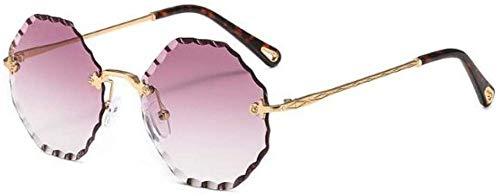 ZYIZEE Gafas de Sol Gafas de Sol Rojas de Moda para Hombres y Mujeres Gafas de Sol octogonales Lentes Transparentes Gafas de Sol sin Montura Estilo Callejero Degradado-C2_Gold_Purple
