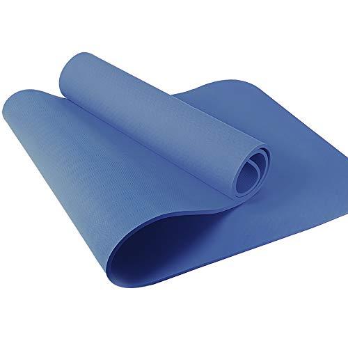 VELOVITA Yogamatte inkl. Tasche Gymnastikmatte rutschfest Workout Matte Trainingsmatte Fitness Matte Sportmatte für Yoga und Pilates 8 mm blau 183x61 cm