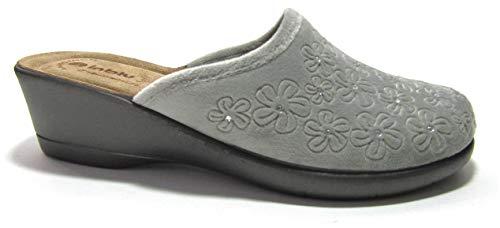 inblu Pantofole Ciabatte Invernali da Donna Art. DE-06 Zeppa Grigio New (Numeric_38)