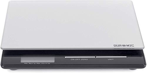 Duronic KS865 - Bilancia da cucina digitale, sottile e portatile, 5 kg, superficie in vetro