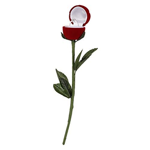Caja De Anillo De Boda De Flor Rosa, Caja De Anillo De Boda De Alta Calidad, Hermosa Caja De Collar, Para Guardar Aretes Collar Rojo Fácil De Llevar
