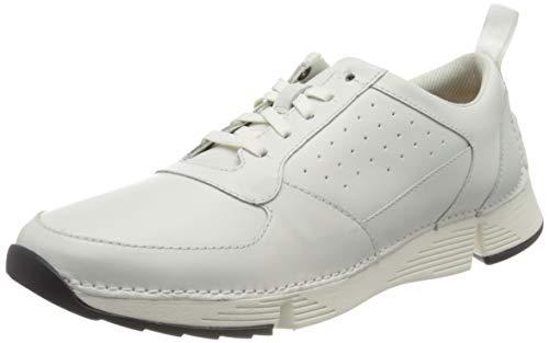 Clarks Herren Tri Sprint Sneaker, Weiß (White Leather White Leather), 45 EU