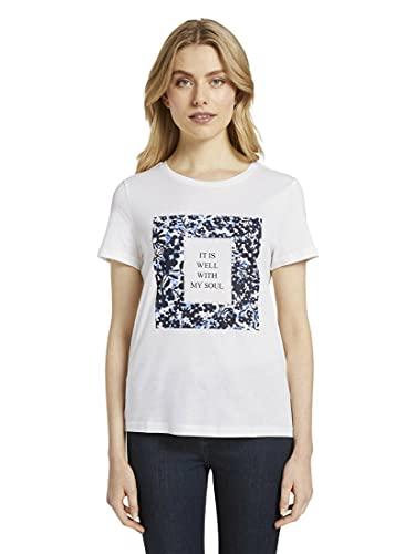 TOM TAILOR Crew-Neck Print T-Shirt, 10315-Whisper White, M Donna
