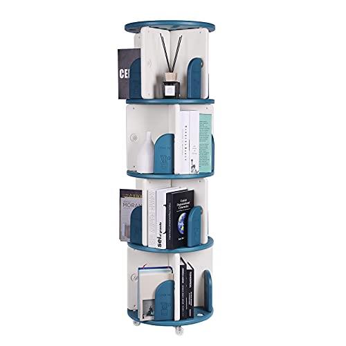 Estantería giratoria de 4 capas, adecuada para niños y adultos, se puede utilizar en dormitorios y oficinas (54 x 14 x 14 x 14 cm).