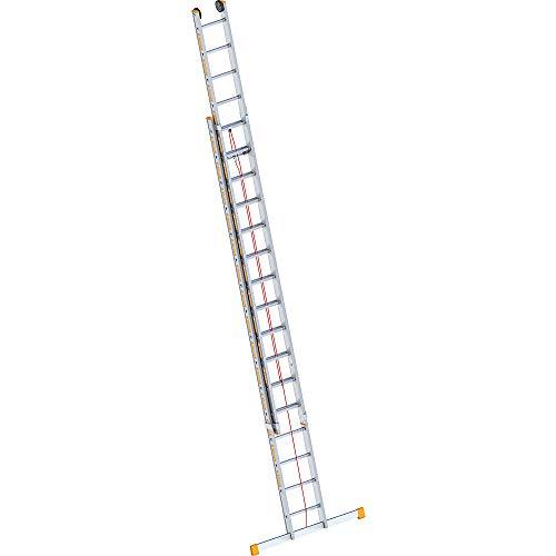 Layher 1037016 Seilzugleiter Topic 16, Aluminiumleiter 2x16 Sprossen, zweiteilig, ausziehbar, Länge 8.20 m