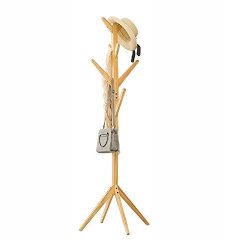 JIAYING porte-manteaux Présentoir en forme d'arbre en bambou, debout, avec 4 rangées de 8 crochets et pieds solides pour les vêtements, foulards et chapeaux, Multifonction