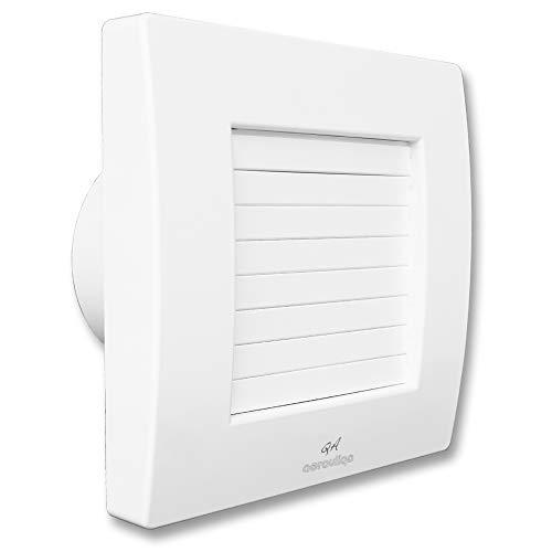 QA100HTBB de Aerauliqa – Aspirador axial diámetro 100 mm – 11 W – 83 m3/h – código PQA0002Q – con aletas internas automáticas y sensor de humedad temporizado