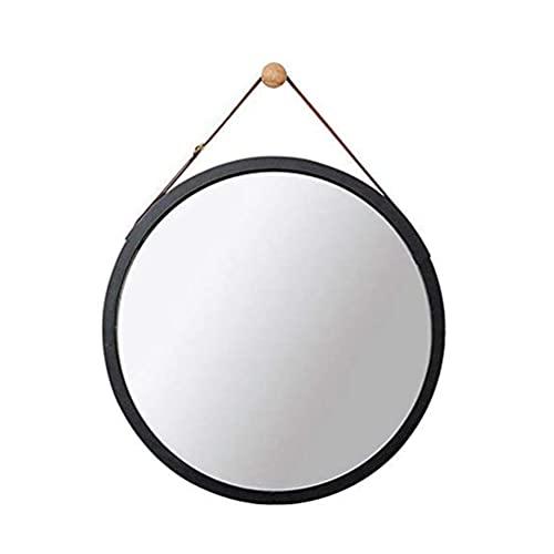 MiduoHu Espejos de Baño Espejo de Pared, Espejo Decorativo de Madera para Dormitorio Espejo de Cuerda Redondo Espejo de Baño Redondo Espejo de baño Espejo de baño (38cm * 38cm, Blanco)
