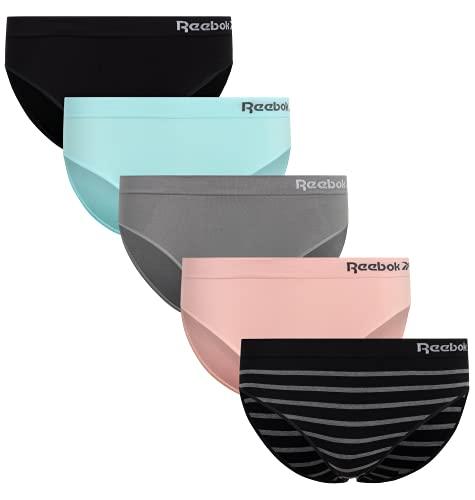 Reebok Women's Underwear - Seamless Bikini Briefs (5 Pack), Size Small, Black/Blue/Grey/Pink