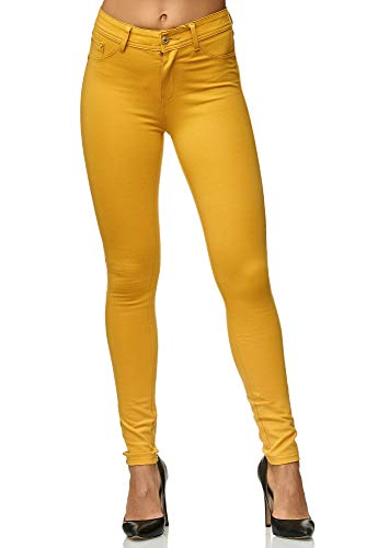 Elara Damen Stretch Hose Skinny Fit Jegging Chunkyrayan H01-28 Yellow 40 (L)