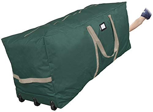 ProPik Xmas Rolling Tree Storage Bag, Fits Up to 9 ft. Tall Disassembled Holiday Tree, 25' X 20' X 60', Extra Large Heavy Duty Storage Container with Wheels, Front and Side Handles Attached (Green)