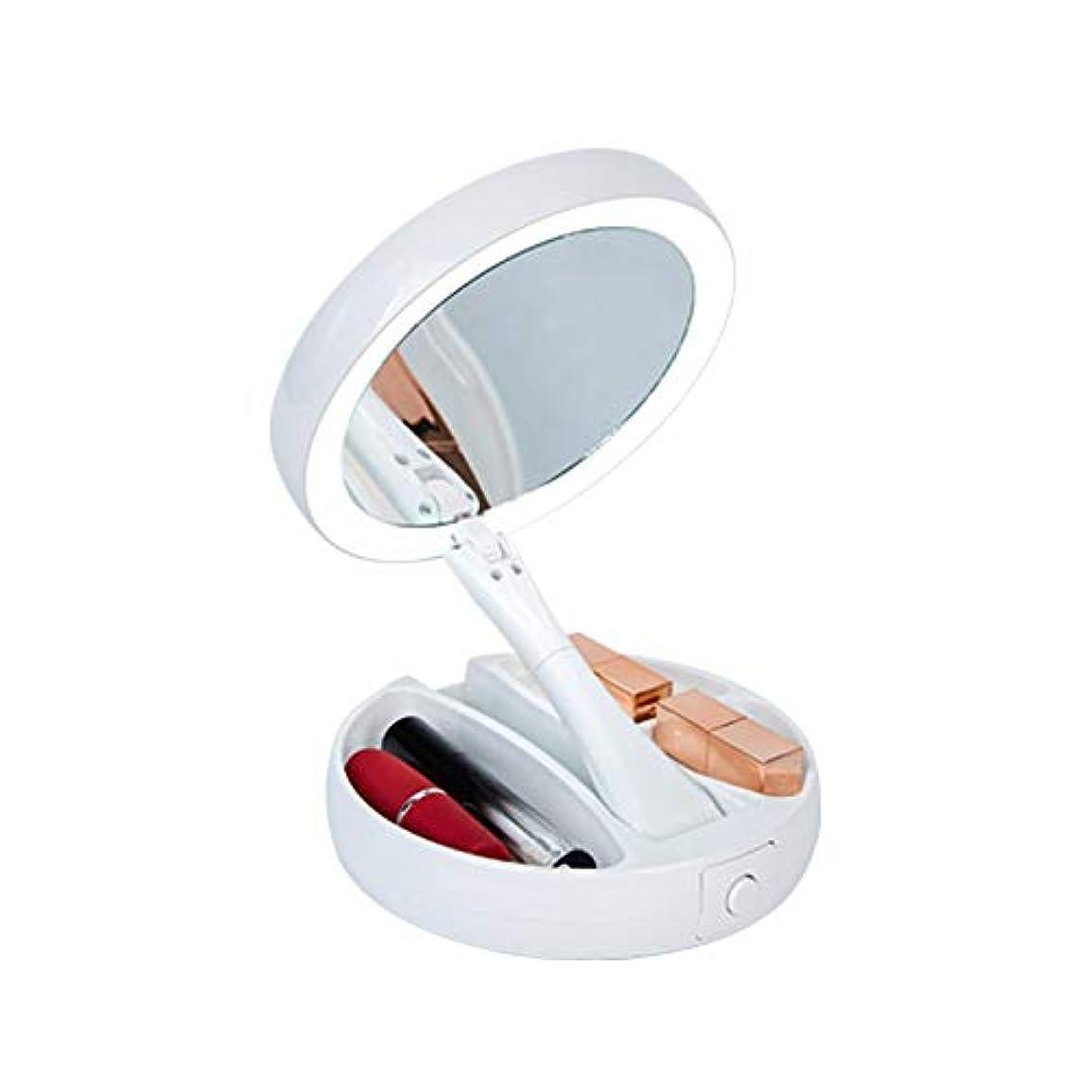 輸送思い出領域化粧鏡 等倍鏡 LED卓上化粧鏡 1X10倍拡大鏡+ メイクミラー 両面型 360度回転式 USBか電池を使って