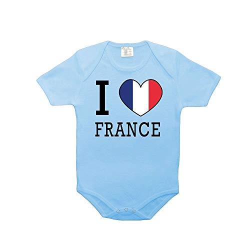Mygoodprice Body bébé 100% Coton Drapeau I Love France Bleu 6-12 Mois