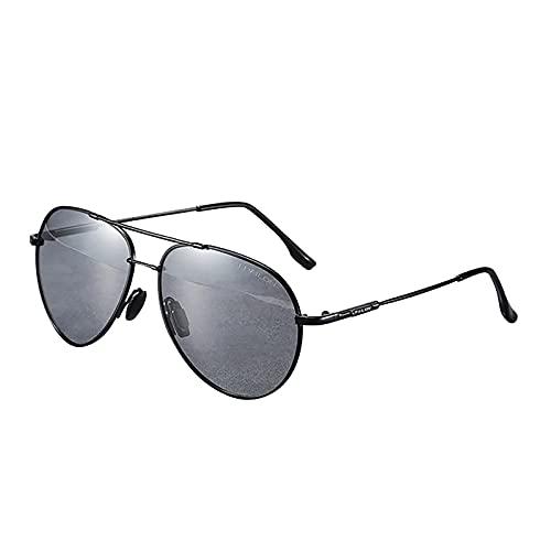 BEIAKE Gafas De Sol para Adultos Luz Polarizada Gafas Piloto Gafas De Sol De Protección UV De Marco Adecuado para Ciclismo, Correr, Viajar, Playa, Gafas De Manejo,Negro