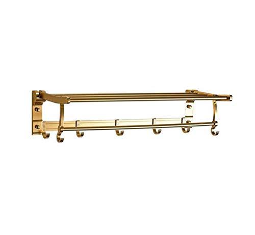 SSHA Toallero Barra de Toalla Plegable Aluminio Estante de baño Rotate Toalla Estante de Ducha con Gancho Colgante Color de Oro Toalleros de baño