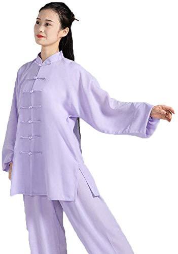 AZWE Tai Chi Kleidung Leinen Weibliche Baumwolle und Leinen Stickerei Männlichen Chinesischen Stil Langärmeligen Frühling und Sommer Kurzärmeligen Taijiquan Praxis Martial Arts Performance Kleidung,L