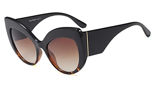 U/N Gafas de Sol de Gran tamaño para Mujer, Montura Grande a la Moda, Sombras Negras para Mujer, Gafas de Sol Vintage, Gafas-4