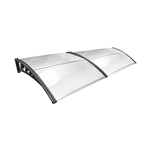 VINGO Pensilina per porta d'ingresso Pensilina ad arco 300 x 100 cm Pensilina con copertura in policarbonato trasparente 5 mm, staffa in PP,