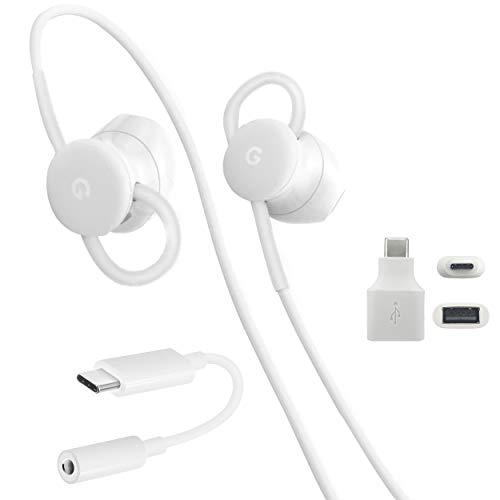 Google USB-C Earbuds, USB-C to 3.5mm Adapter, USB-C to USB 3.0 Adapter, for Google Pixel Devices - Accessory Combo Kit