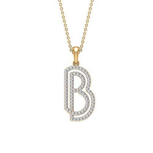 HI-SI 1/2ct Diamant Initiale Charm-Halskette, B Alphabet Name Anhänger, Buchstabe Tropfenkette Anhänger, Einzigartiger Jahrestag Anhänger, Mädchen Versprechen Anhänger, 14K Gelbes Gold Mit Kette