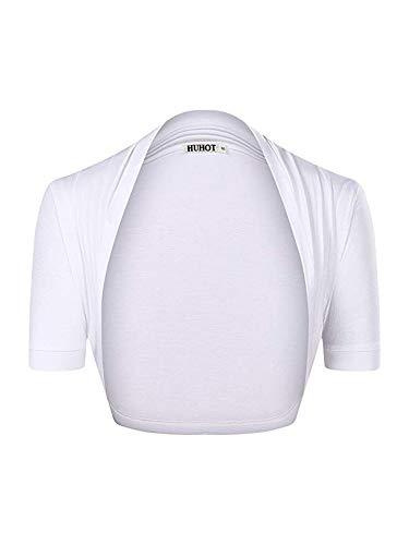 HUHOT Womens Versatile Open Front Lightweight Short Sleeve Bolero Shrug X-Large White