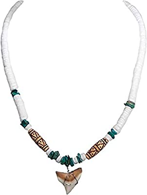 BlueRica Bull Shark Tooth Pendant on Puka Shell Beads, Turquoise Stone Chips & Brown Tubes Necklace (16 Inches)