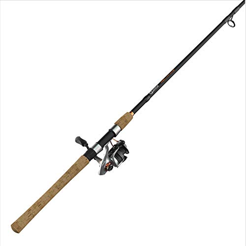 Quantum Reliance Spinning Reel and Fishing Rod Combo, 7-Foot 2-Inch 1-Piece Fishing Pole, Size 30 Reel, Changeable Right- or Left-Hand Retrieve, Graphite Rod with Cork Handle, Silver/Black